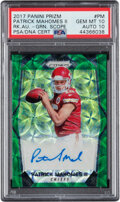 Football Cards:Singles (1970-Now), 2017 Panini Prizm Patrick Mahomes II Green Scope Rookie Autograph #RA-PM PSA Gem Mint 10, Auto 10 - Serial Numbered 7/99....