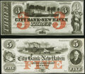 Obsoletes By State:Connecticut, New Haven, CT- City Bank of New Haven $3; $5 18__ Remainders G36c; G52b Crisp Uncirculated.. ... (Total: 2 notes)