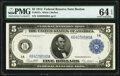 Large Size:Federal Reserve Notes, Fr. 847a $5 1914 Federal Reserve Note PMG Choice Uncirculated 64 EPQ.. ...