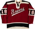 Hockey Collectibles:Uniforms, 1972-73 Richie LeDuc Game Worn Boston Braves (AHL) Jersey....