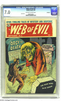Golden Age (1938-1955):Horror, Web of Evil #6 Bethlehem pedigree (Quality, 1953) CGC FN/VF 7.0Off-white to white pages. Jack Cole art. A certificate of au...