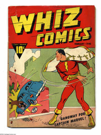 Whiz Comics #1 (Fawcett, 1940) Condition: PR. First appearance of Captain Marvel. C. C. Beck art. Back cover missing. Br...
