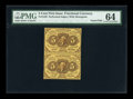 Fractional Currency:First Issue, Fr. 1228 5¢ First Issue Vertical Uncut Pair PMG Choice Uncirculated 64....