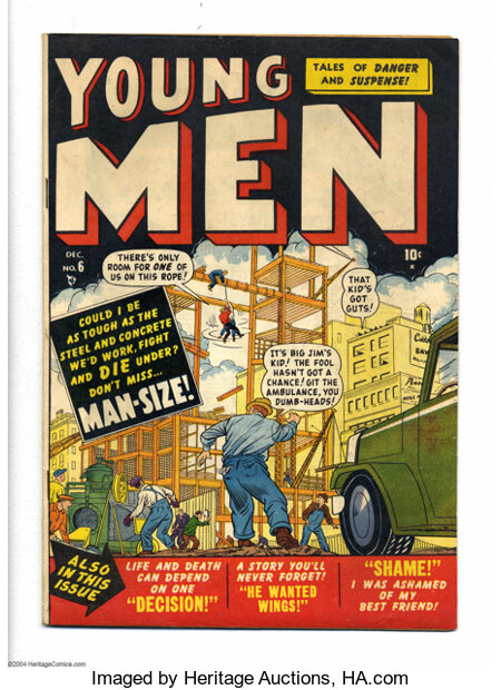 Young Men #6 (Atlas, 1950) Condition: FN+. Sol Brodsky cover. Overstreet 2004 FN 6.0 value = $39; VF 8.0 value = $74....
