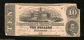 Confederate Notes:1862 Issues, T52 $10 1862. This 3 Series $10 suffered a severed corner ...
