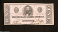 Confederate Notes:1863 Issues, T62 $1 1863. No pinholes are found on this $1 that has a ...