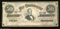 Confederate Notes:1864 Issues, T66 $50 1864. A few light folds are found on this Jeff ...
