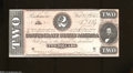 Confederate Notes:1864 Issues, T70 $2 1864. The tint is orange-red on this example that ...