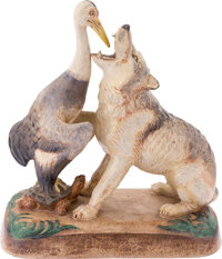 """Aesop's Film Fables """"The Wolf and the Crane"""" Ceramic Sculpture (c. 1950s)"""