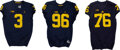 Football Collectibles:Uniforms, 2015-18 Gary, Bushell-Beatty and Glasgow Game Worn/Issue Michigan Wolverines Jerseys (3)....
