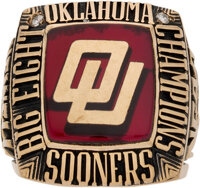 1984 Oklahoma Sooners Big Eight Champions NCAA Basketball Ring Presented to Assistant Coach Mike Newell