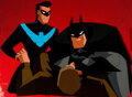 Animation Art:Production Cel, The New Batman Adventures Batman and Nightwing Production Cel Setup with Master Background (Warner Brothers, c. 1997-9...