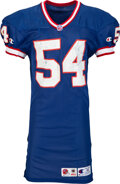 Football Collectibles:Uniforms, 1996 Chris Spielman Game Worn & Signed Buffalo Bills Jersey with Equipment Manager Provenance - Over A Dozen Repairs!...