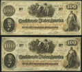 Confederate Notes:1862 Issues, T41 $100 1862 Two Examples Very Fine or Better.. ... (Total: 2 notes)