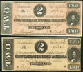 Confederate Notes:1864 Issues, T70 $2 1864 Two Examples Very Fine-Extremely Fine or Better.. ... (Total: 2 notes)