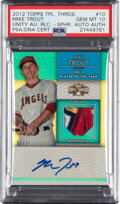 Baseball Cards:Singles (1970-Now), 2012 Topps Triple Threads Mike Trout Unity Autograph Relic Sapphire #TTUAR-10 PSA Gem Mint 10 - Serial Numbered 2/10. ...