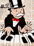 Paintings, Alec Monopoly (b. 1986). Piano Man. Acrylic, spray paint, and collage on canvas with resin. 48 x 36 x 1-1/2 inches (121....