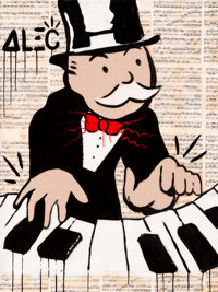 Alec Monopoly (b. 1986) Piano Man Acrylic, spray paint, and collage on canvas with resin 48 x 36