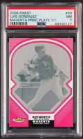 Baseball Cards:Singles (1970-Now), 2006 Finest Magenta Printing Plate Luis Gonzalez #59 PSA NM 7 - Serial Numbered 1/1....
