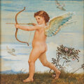 """Books:Original Art, Walter Crane. Original Watercolor on Silk. """"A Naughty Little Boy with Bow and Arrow"""". [London: 1885]. Signed by Walter Crane..."""