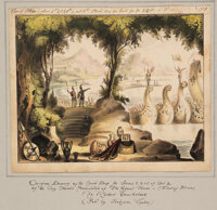 """Robert Cruikshank. """"The Siege of Troy, or the Giant Horse of Sinon."""" Group of Six fine original ink and waterc..."""