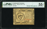 Continental Currency May 10, 1775 $8 PMG About Uncirculated 55 EPQ