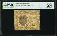 Continental Currency February 17, 1776 $7 PMG Choice About Unc 58