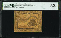 Continental Currency February 17, 1776 $1 PMG About Uncirculated 53