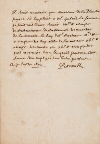 """Charles Perrault. Autograph note signed """"Perrault"""" and dated """"7 Juillet 1672,"""" sending payment instr..."""