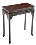 Furniture, A Chinese Carved Zitan Altar Table, Qing Dynasty, 19th century. 32-1/2 x 20-1/2 x 14 inches (82.6 x 52.1 x 35.6 cm). ...