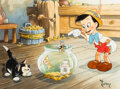 Animation Art:Production Drawing, Pinocchio and Jiminy Cricket Illustration by Toby Bluth (Walt Disney, 2010)....