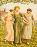 """Books:Original Art, Kate Greenaway. """"Susan, Mary, Emily."""" A superb original watercolor drawing signed by the artist with her initials in the..."""