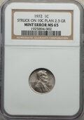 Errors, 1972 1C Lincoln Cent -- Struck on 10C Planchet -- MS65 NGC. (2.3 grams)....