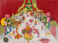 Dr. Seuss' How the Grinch Stole Christmas Christmas Feast Production Cel Setup with Key Master Background Signed by Ch...
