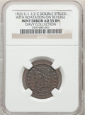 Errors, 1826 1/2 C Classic Head Half Cent, C-1, B-1, R.1 -- Double Struck with Rotation on Reverse -- AU55 NGC. Ex: Davy Collection...