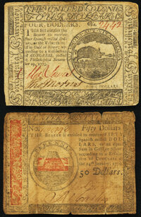 Continental Currency November 29, 1775 $4 VF; Continental Currency January 14, 1779 $50 Fine. ... (Total: 2 notes)