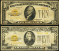 Small Size:Gold Certificates, Fr. 2400 $10 1928 Gold Certificate. Very Good;. Fr. 2402 $20 1928 Gold Certificate. Very Good-Fine.. ... (Total: 2 notes)