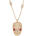 Estate Jewelry:Necklaces, Diamond, Ruby, Rose Gold Necklace, Bvlgari. ...