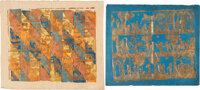 [Dutch Colored and Dutch Floral Paper]. Five lovely uncut sheets with gilt and colored stenciled decorations, or with em...