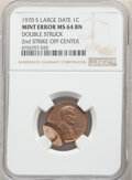 Errors, 1970-S 1C Large Date, Lincoln Cent -- Double Struck, Second Strike Off Center -- MS64 Brown NGC....
