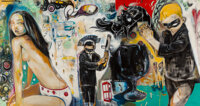 Hebru Brantley (b. 1981) Boys Night Out, 2005 Oil on canvas 38 x 75 inches (96.5 x 190.5 cm) S
