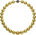 Estate Jewelry:Necklaces, South Sea Cultured Pearl, Colored Diamond, Gold Necklace. ...