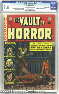Vault of Horror #31 Gaines File pedigree 3/12 (EC, 1953) CGC NM+ 9.6 Off-white to white pages. Ray Bradbury fans, take n...