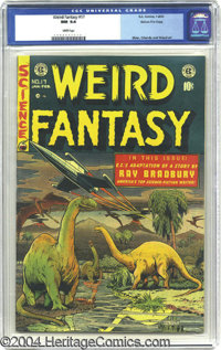 Weird Fantasy #17 Gaines File pedigree 3/12 (EC, 1953) CGC NM 9.4 White pages. This striking spaceship and dinosaur cove...