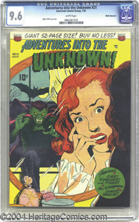 Adventures into the Unknown #21 White Mountain pedigree (ACG, 1951) CGC NM+ 9.6 White pages. Overstreet notes that this...
