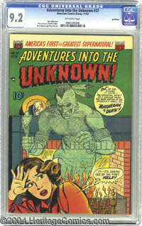 Adventures Into the Unknown #37 Northford pedigree (ACG, 1952) CGC NM- 9.2 Off-white pages. Ken Bald cover. This is the...