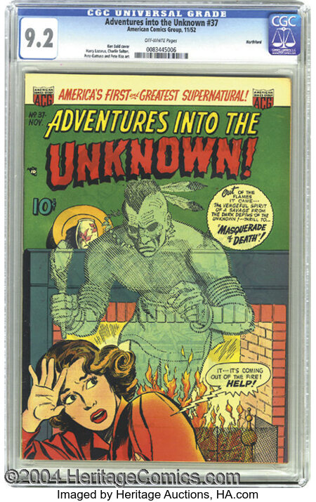 Adventures Into the Unknown #37 Northford pedigree (ACG, 1952) CGC NM- 9.2 Off-white pages. Ken Bald cover. This is the high...