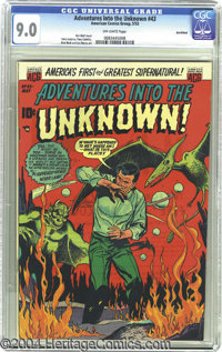Adventures Into the Unknown #43 Northford pedigree (ACG, 1953) CGC VF/NM 9.0 Off-white pages. The poor Joe on this cover...