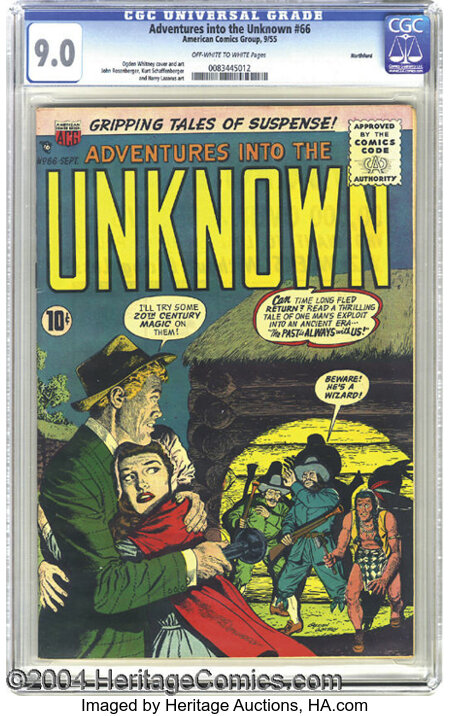 Adventures Into the Unknown #66 Northford pedigree (ACG, 1955) CGC VF/NM 9.0 Off-white to white pages. Shades of Mark Twain!...