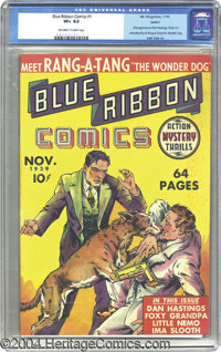Blue Ribbon Comics #1 Larson pedigree (MLJ, 1939) CGC VF+ 8.5 Off-white to white pages. With no penciled writing present...
